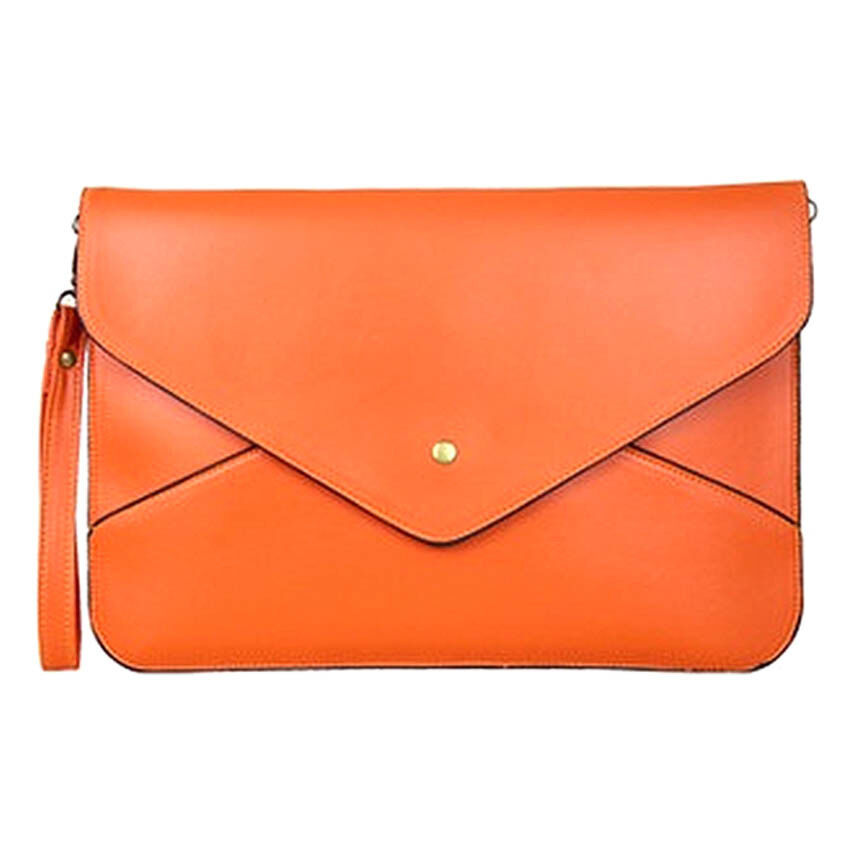 SoKaNo Trendz Vintage Style PU Leather Envelope Clutch Handbeg Wanita- Orange