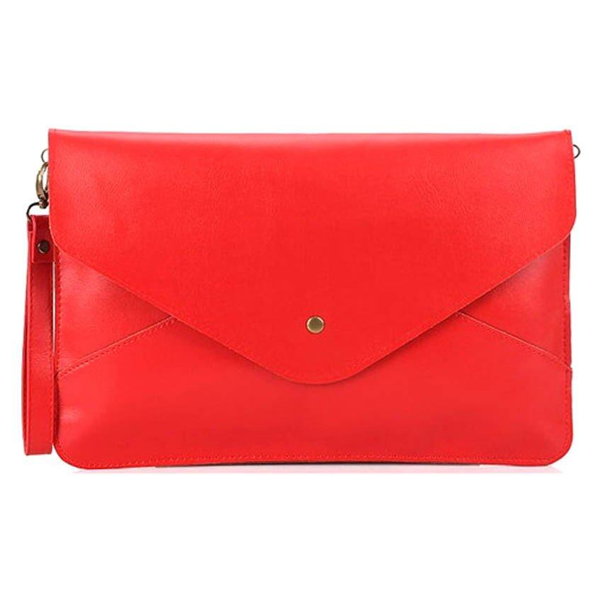 SoKaNo Trendz Vintage Style PU Leather Envelope Clutch Handbeg Wanita- Red