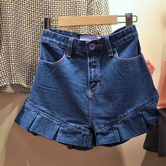 Harga Solid color spring and summer New style lotus leaf edge denimshorts