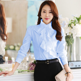 Harga Spring and Autumn New style collar lotus leaf lace white long-sleeved shirt (Sky blue)