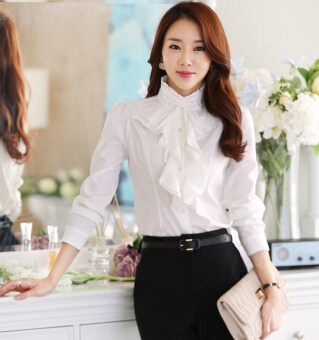 Harga Spring and Autumn New style collar lotus leaf lace whitelong-sleeved shirt (White)