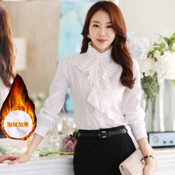 Harga Spring and Autumn New style collar lotus leaf lace whitelong-sleeved shirt (White velvet)