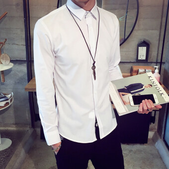 Spring and Autumn shirt male long-sleeved Korean-style Plus-sized thin section young business shirt casual white-inch shirt wild bottoming Top (White)