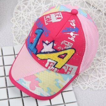 Spring and SUMMER baby take baseball cap sun visor 1 + a wild cartoon images children cap (Reference age 10-36 months + 46-50 cm + 1 + a rose (front face)) - intl