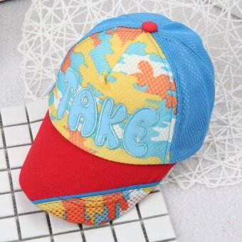 Spring and SUMMER baby take baseball cap sun visor 1 + a wild cartoon images children cap (Reference age 10-36 months + 46-50 cm + Take red (hat brim)) - intl