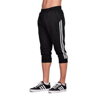 Spring Summer Men Sport Pants Capris Running Fitness Workout JoggerPocket Pants 3/4 Athletic Sweatpant Trousers Cotton - black white