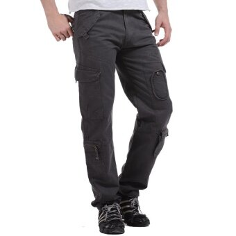 Spring Summer Outdoor Casual Military Cargo Pants Men Loose FitTactical Trousers Cotton Multi Pockets - grey