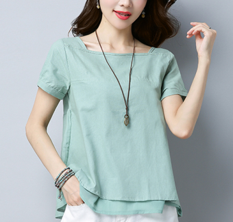 Harga Square collar minimalist Asian Linen Top (Light green) (Light green)