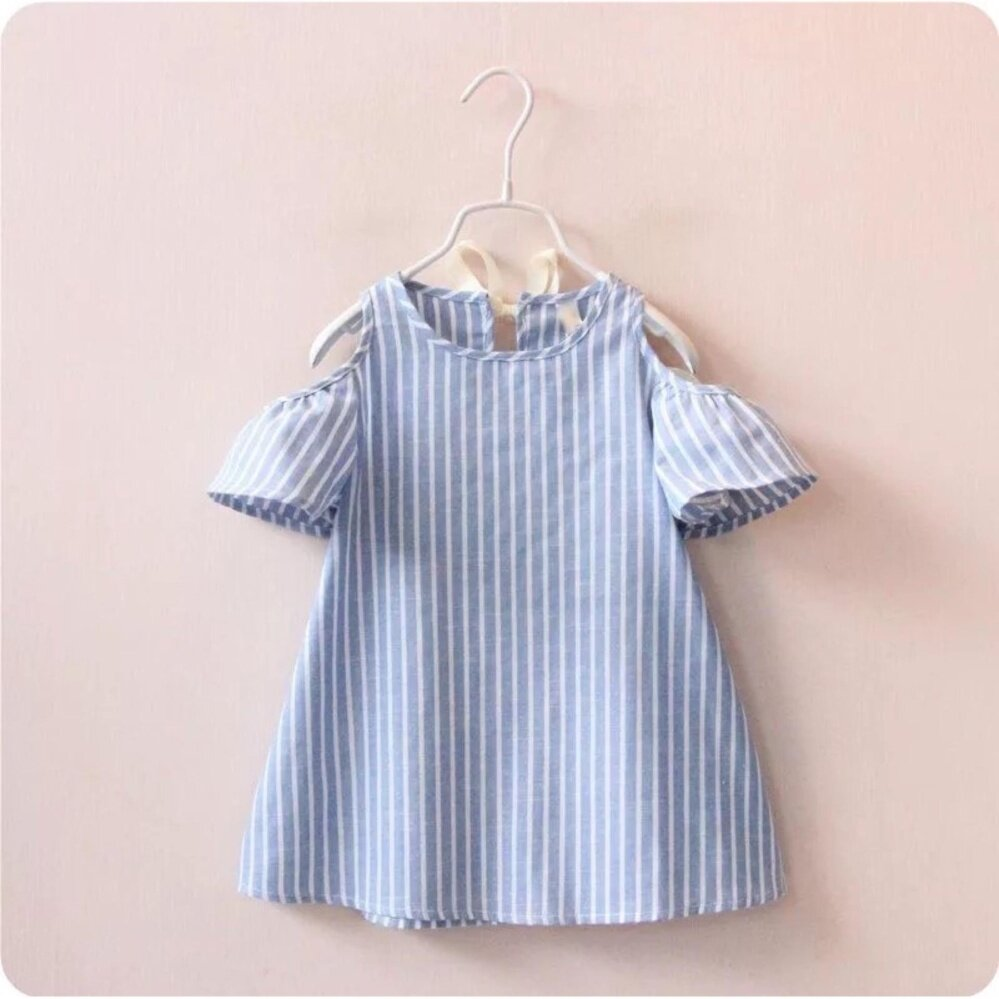 SS, cute white blue stripe girl dress or top , size 7