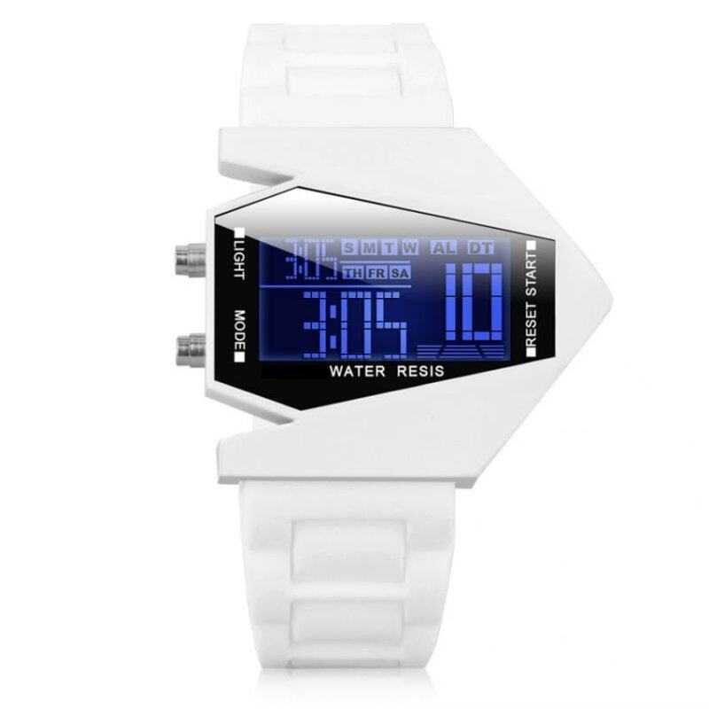 Stealth Plane Aircraft Bomber Shape Sports LED Digital Watch Silicone Watches White Malaysia