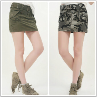 Harga Step camouflage clothes magic summer dark green skirt half-lengthskirt (Army green + belt) (Army green + belt)