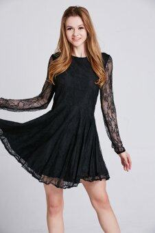 Harga Stitch Lace Skater Dress with Curved Hem (Black)(Export)