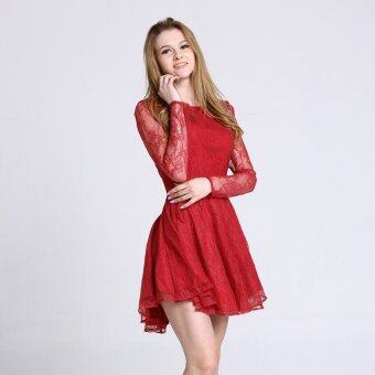 Harga Stitch Lace Skater Dress with Curved Hem (Red)