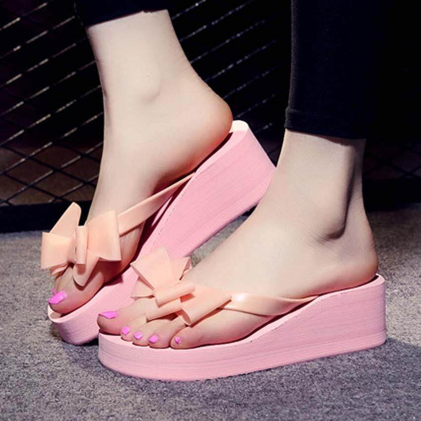 Summer Ladies Women Slippers Bow Clip Flip-flops Thick Non-slip High Heel Sandals Slippers - intl