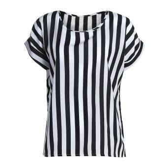 Harga Summer Lady O Collar Stripe T Loose Short Sleeve Chiffon Blouse (S)