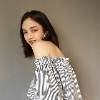Summer New style Korean chic retro Slimming effect word collar off-the-shoulder vertical striped Sweet shirt female Top speaker sleeves