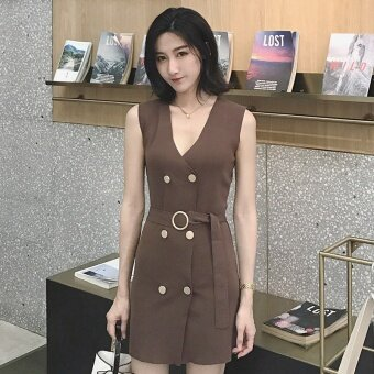Summer New style Women's Korean-style temperament v-neck sleeveless vest skirt wild Slimming effect double buckle knit dress female (Coffee color)