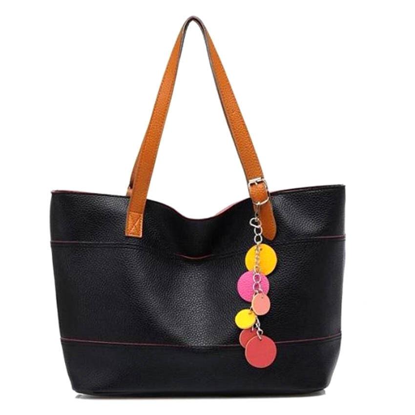 Summer PU Leather Tote Bag Handbeg Wanita - Black
