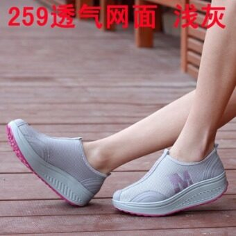 Summer shoes heavy-bottomed sports shoes slope with women casualmesh shoes breathable running shoes sneakers shook his shoes womenshoes (Light gray)