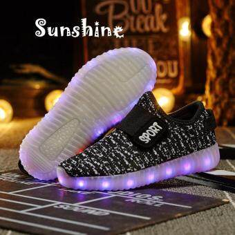 Sunshine Boys Girls Led Light Shoes for Children Fashion Kids UsbCharging Luminous Sneakers Autumn Spring Glowing Shoes Kanak-kanakKasut (Black)