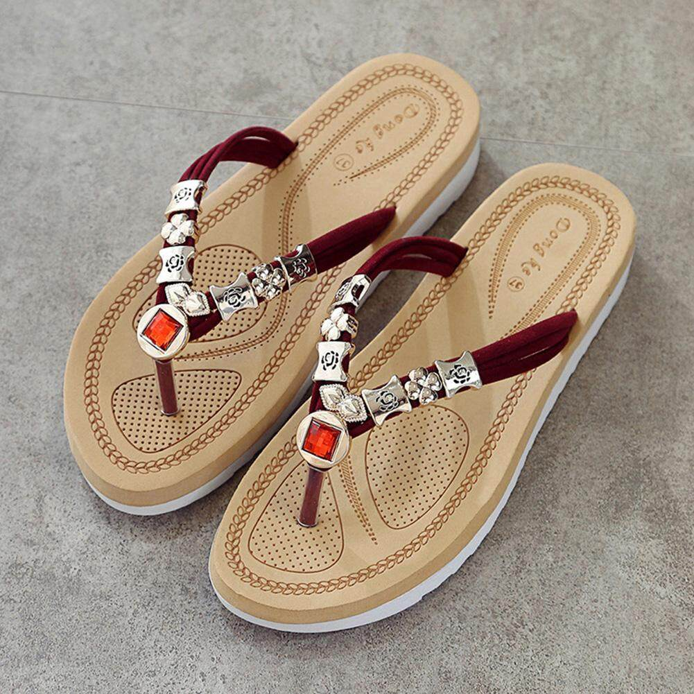 Buy Women House Slippers Flip Flops Lazada sg Source · Sunshop Summer Women Solid Color Diamond Toe Clip Thick Bottom Slippers Red intl