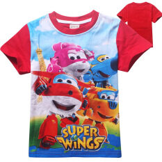 ส่วนลด Super Wings Boys Or Girls 95 135Cm Hight 3 10 Years Old Cartoon Pure Cotton T Shirts Color Red จีน