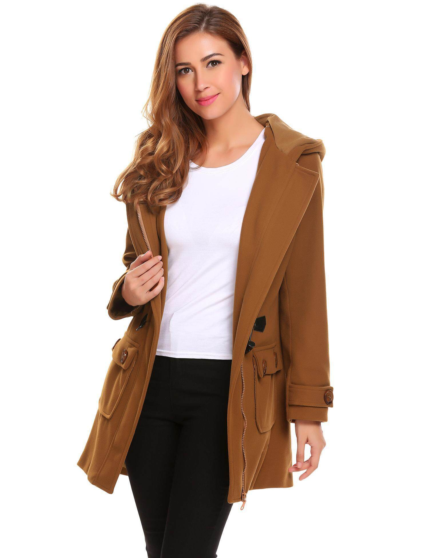 SuperCart Women Winter Fashion Hooded Long Sleeve Solid Duffle Coat ( Brown ) - intl