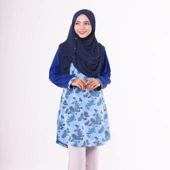 T Shirt Muslimah Humaira Design (Blue / floral)