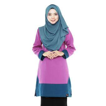 T Shirt Muslimah Humaira Design (Turquoise / orchid purple)