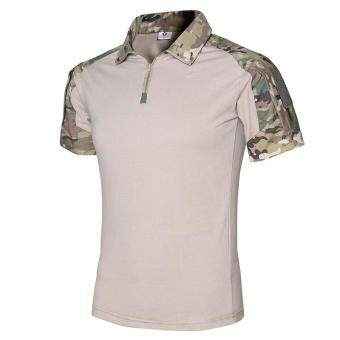Tactical Summer Short Sleeve Tops Tee Men Camouflage T-shirts ArmyCombat T Shirt Tee Military Men Quick Dry Tee Shirt - camo
