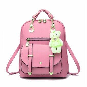 Tanoshiis Picks Korean Style Bear 3 Way Quilted PU leather Shoulder Bag_Pink