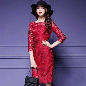 TF 2017 New women's clothing of high-grade embroidery lacedress(Red)