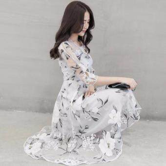 TF New High-end women Round collar 7 minutes of sleeve Eugen printdress(White flower)
