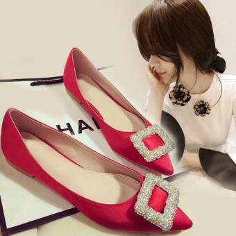 TF woman fashion Flat shoes Rhinestone buckle shoes pointed Flat shoes(Red)