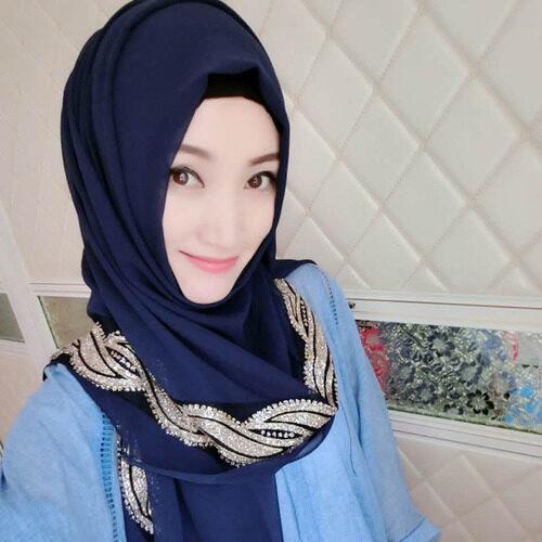 Ma Lai Kuan Serban Gaya Baru Sifon Tumbuh Handuk Mosslem Orang Sarung Kepala Arab Benang Handuk muslem Inset untuk Bor untuk Kuku Manik Jilbab-Internasional