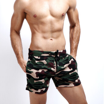Three points cotton camouflage clothing Slim fit Super shorts (Dark green color)