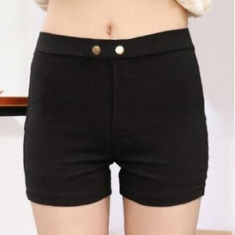 Three points New style summer thin section slim fit student casualpants shorts (Black) (Black)
