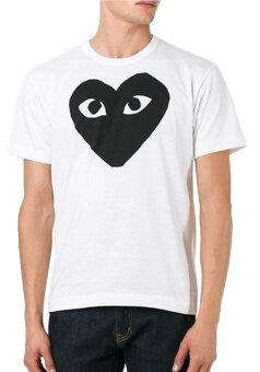 THW Comme des Garcons PLAY Mens Black Heart Print T-shirt White& Black tee for men
