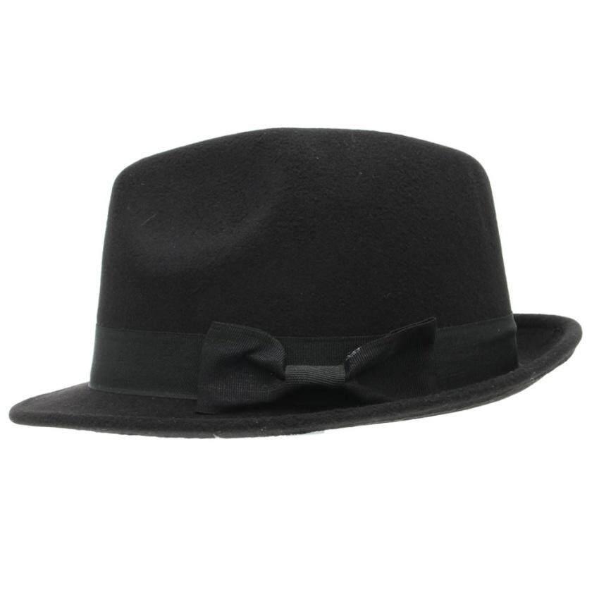Detail Gambar Huade Elastis Wol Panama Busur-Simpul Topi Pendek Bertepi  Fedora Softcaps Musim Panas 4abe7075cf