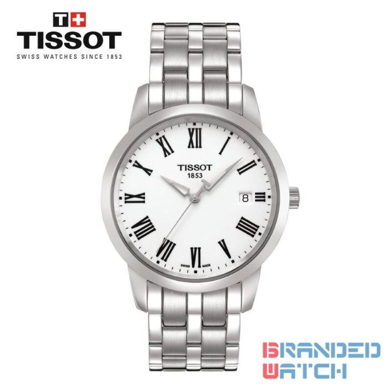 Tissot T033.410.11.013.01 Mens Classic Dream Quartz Steel Watch (White) Malaysia