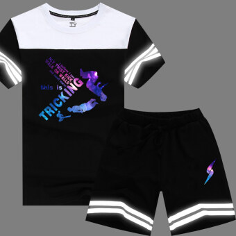 Harga Tongyang hip hop short sleeved shorts hip-hop stitching T-shirt (Men in Black trousers 11)