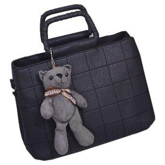 Top rateFashion Cute Top Handle Leather Bear Women HandBags Bag - intl