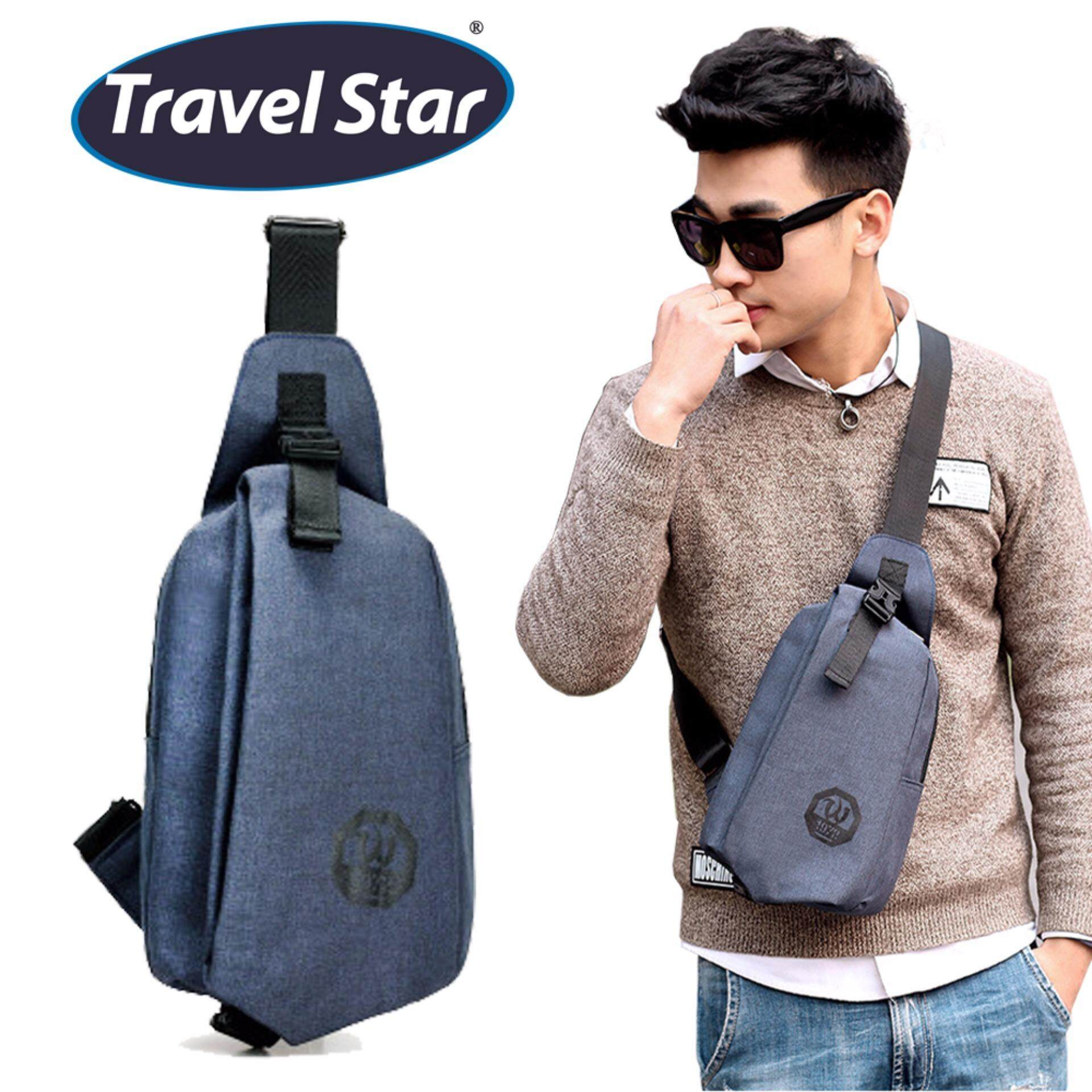 Travel Star 1972 Korean Style Premium Shoulder Bag With Earphone Cable Entry - Blue