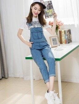 Harga Tri-Colours Slim Fit Jumpsuits Light Blue
