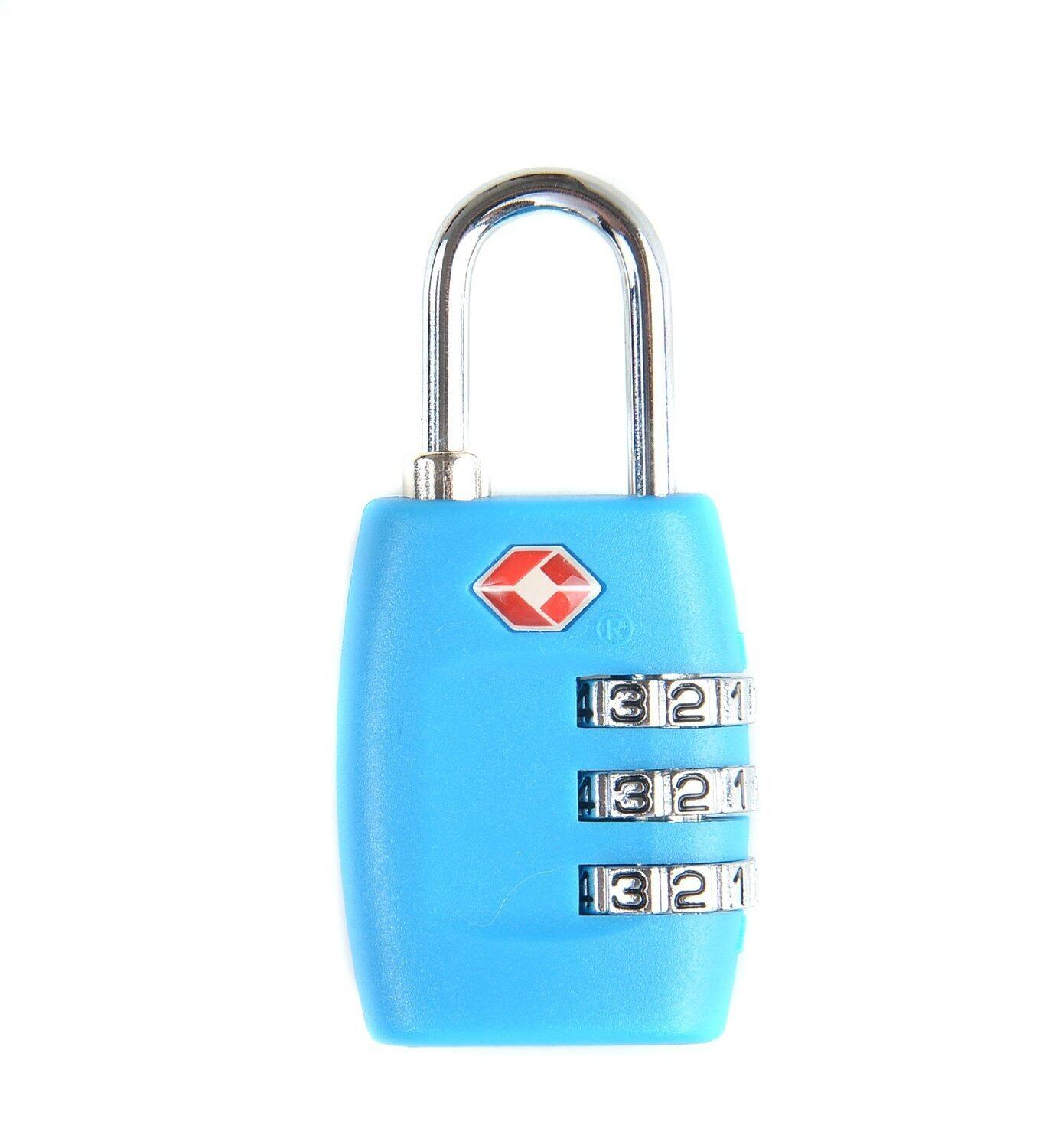 TSA Resettable 3 Digit Combination Safe Travel Luggage Bagasi Suitcase Code Lock Blue