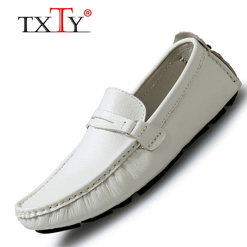 TXTY Leather Loafers For Men Shoes moccasins Spring Mens Footwear Cow Leather Flats Casual Comfortable Driving Shoes(white) - intl