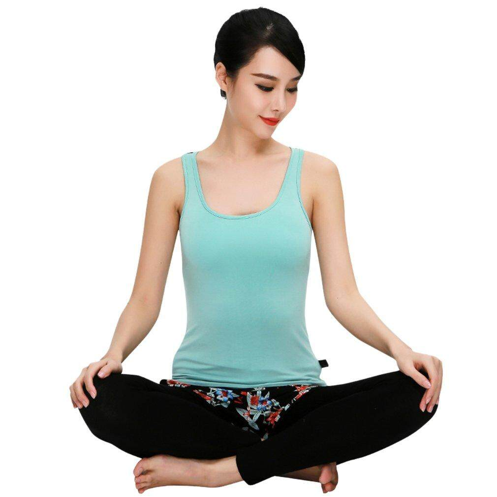 Ubest Woman Lady Yoga Set Soft Gym Suits Breathable Pant Cross Vest Sportswear light green & black M - intl