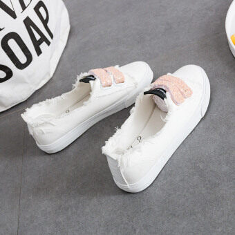 Harga Ulzzang female New style magic stickers women's shoes white shoes (Powdery mildew) (Powdery mildew)