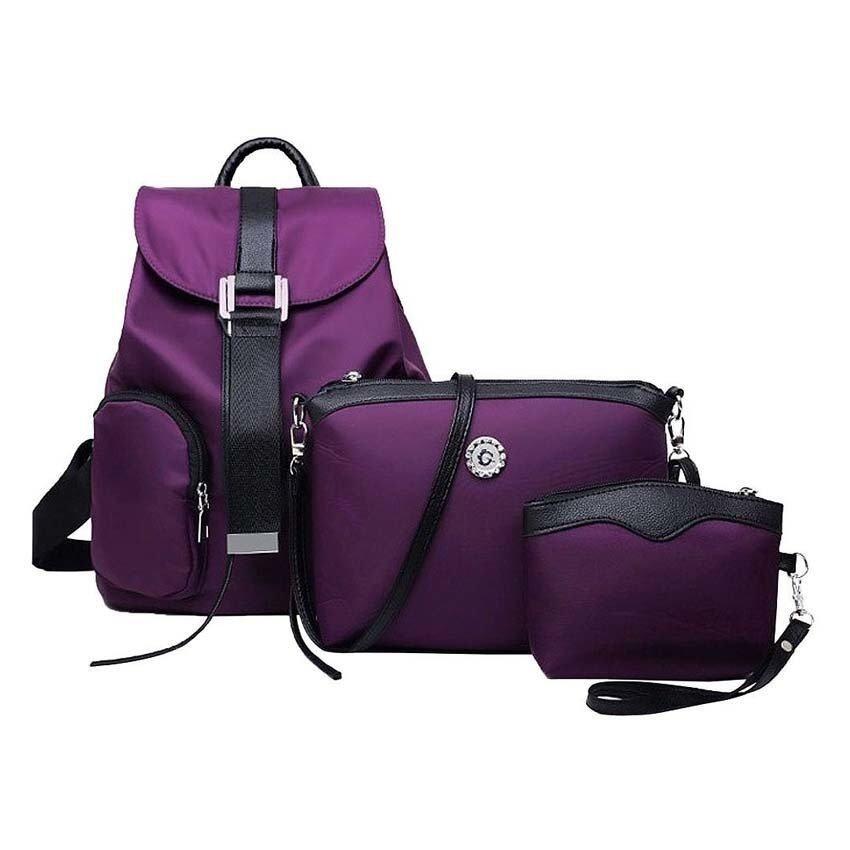 SoKaNo Trendz Premium Nylon Backpack 3 Pcs Set Handbeg Wanita- Purple