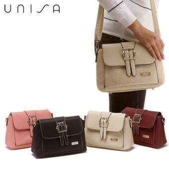 UNISA Embossed Check Pattern Sling Bag With Pin Buckle (Beige ...